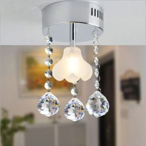 Mini Modern Chrome Plating Crystal Flush Mount Flower Shape K9 Crystal