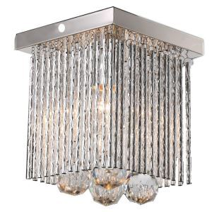 Mini Modern Chrome Plating Crystal Flush Mount Square Crystal Light