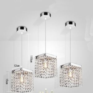 (In Stock)Free Shipping Crystal Pendant Light Mini Modern Chrome Plating Crystal Pendant Light Square Light For Living Room Bedroom Dining Room