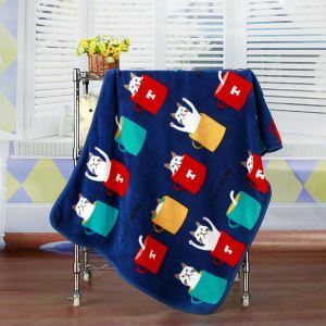 Modern Flannel Cartoon Cat Pattern Baby Blanket Children Bath Towel Summer Blanket 4 Colors