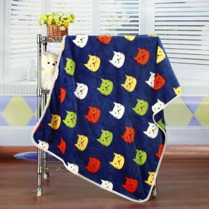 Modern Flannel Blue Cartoon Cat Pattern Baby Blanket Children Bath Towel Summer Blanket