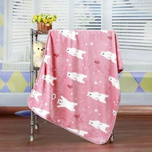 Modern Flannel Cartoon Polar Bear Pattern Baby Blanket Children Bath Towel Summer Blanket 3 Colors