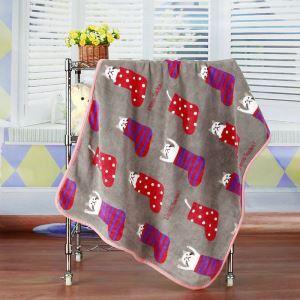 Modern Flannel Cartoon Christmas Socks Pattern Baby Blanket Children Bath Towel Summer Blanket 3 Colors