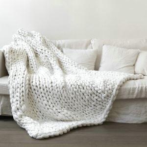 Coarse Plush Line Knitted Handmade Blanket Weaving Blanket Photography Props Blanket Faux Cashmere Blanket 80*150cm 34 Colors