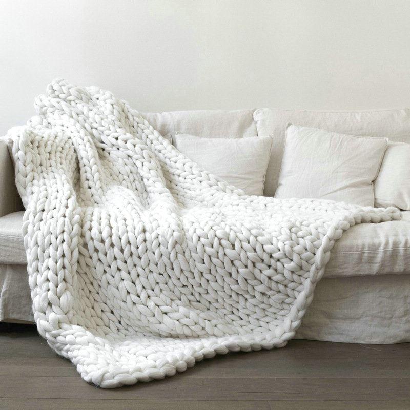 Coarse Plush Line Knitted Handmade Blanket Weaving Blanket