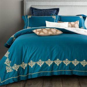 Traditional Simple Advanced Customization Cotton Embroidery Four-piece Set Luxury Bedding Malachite Green Bedding