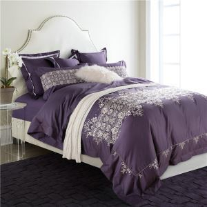 Traditional Simple Advanced Customization Cotton Embroidery Four-piece Set Luxury Bedding Purple Bedding