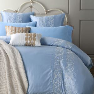 Traditional Simple Advanced Customization Cotton Embroidery Four-piece Set Luxury Bedding Venice Sky Blue Bedding