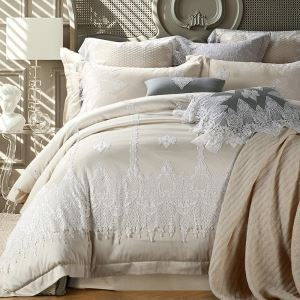 Traditional Simple Advanced Customization Cotton Lace Embroidery Four-piece Set Luxury Bedding Beige Bedding