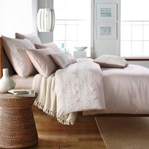Traditional Simple Advanced Customization Cotton Lace Embroidery Four-piece Set Luxury Bedding Gray-pink Bedding