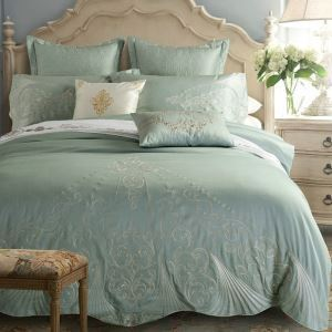 Traditional Simple Advanced Customization Cotton Embroidery Four-piece Set Luxury Bedding Gray-green Bedding