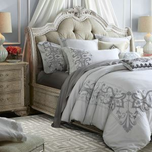Traditional Simple Advanced Customization Cotton Flocking Embroidery Four-piece Set Luxury Bedding Gray Bedding