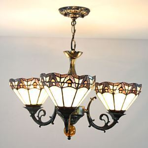 60W Modern Tiffany Style Chandelier with 3 Lights