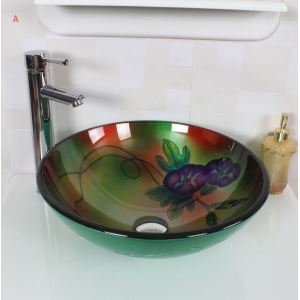 ModernNatural Style Hand-painting Flower Round Tempered Glass Sink (Faucet Not Included)