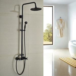 Shower Faucet Set Antique Black Bronze Bathroom Wall Mount Rain Shower Head + Hand Shower Spray