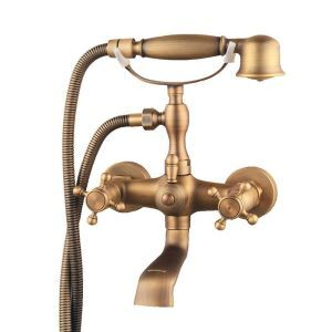Shower Faucet Set Antique Brushed Finish Wall Mount Bathtub Faucet With Hand Sprayer