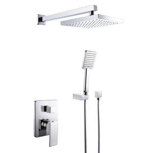 Modern Bathroom Shower Fixture Set Rain Shower Head + Hand Held Shower