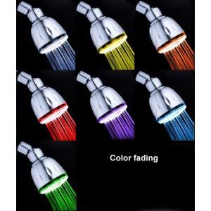 Contemporary Chrome Finish Wall Mount Color Changing LED Showerhead