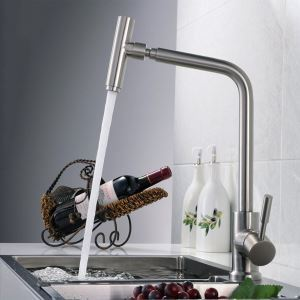 Centerset Contemporary Nickel Brushed Kitchen Faucet