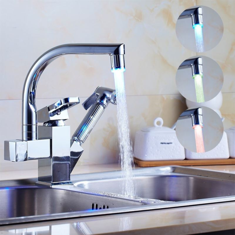 Contemporary Color Changing Led Pull Out Kitchen Faucet Chrome Finish