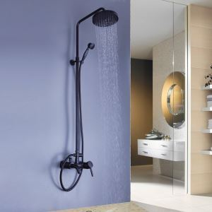 (In Stock)Oil-rubbed Bronze Wall Mount Waterfall Rain + Handheld Shower Faucet
