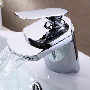 (US Direct) Bathroom Sink Faucet Contemporary design Waterfall Spout Chrome Finish (Only for US Customer)