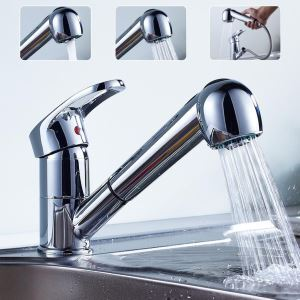 Solid Brass Pull Out Kitchen Faucet (Chrome Finish)
