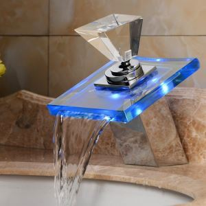 Glass Led Waterfall Tap Color Changing LED Waterfall Bathroom Sink Faucet