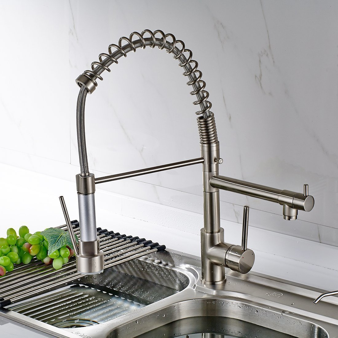 Solid Brass Spring Kitchen Faucet Polished Nickel Finish