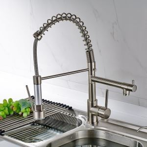 Solid Brass Spring Kitchen Faucet - Polished Nickel Finish