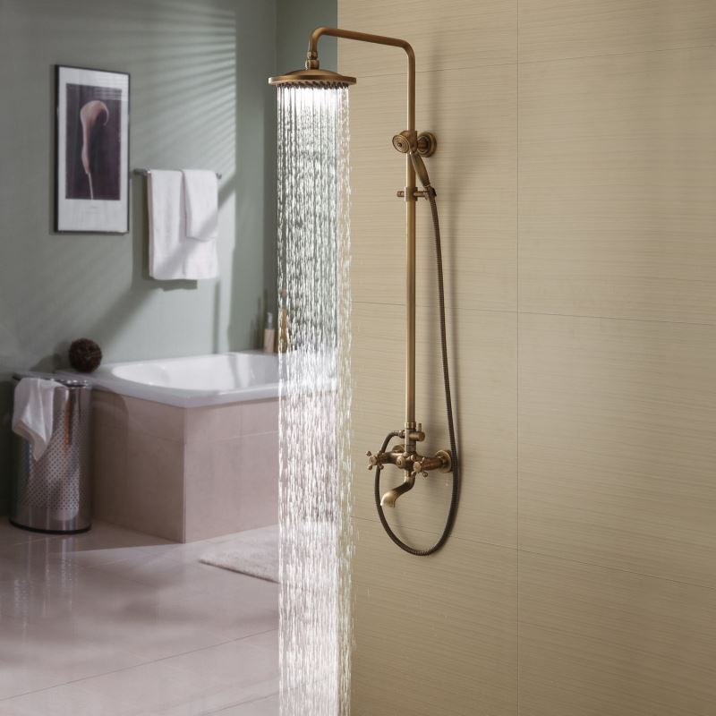 Faucets Shower Faucets Antique Brass Tub Shower Faucet With 8 Inch Shower