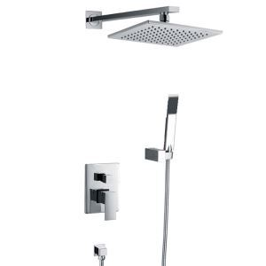 Contemporary Shower Faucet with 6 inch Shower head + Hand Shower