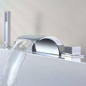 Chrome Waterfall Two Handles Tub Faucet with Hand Shower (Chrome Finish)