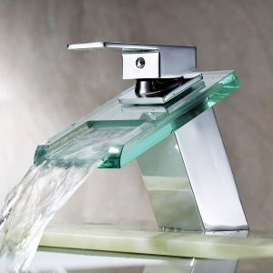 Modern Contemporary Waterfall Basin Faucet With Single Handle Bathroom Taps with the Oblong Shape Spout (MS19)