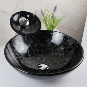 Black wave Tempered glass Vessel Sink With Waterfall Faucet ,Pop - Up drain and Mounting Ring