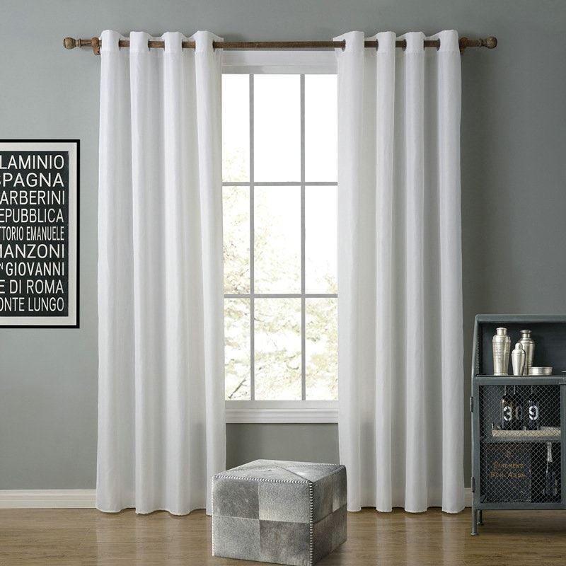 Modern Simple White Curtain Solid Color Finished Curtains 7 Sizes Available Img 2