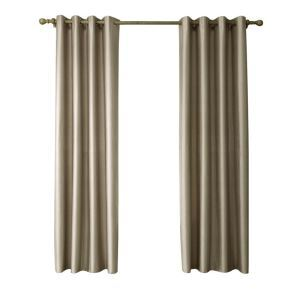 Modern Simple Faux-Silk Doupion Fabric Khaki Curtain Solid Color Finished Curtains 7 Sizes Available