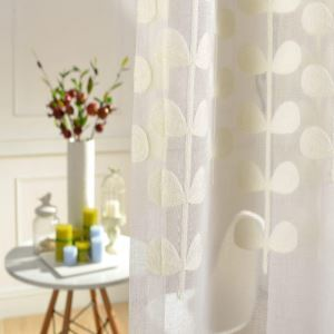( One Panel )Country Pastoral Sheer Curtains Advanced Customization Embroidery Pattern