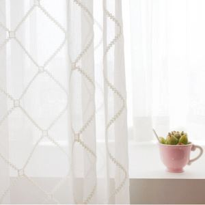 ( One Panel )European Sheer Curtains Advanced Customization Embroidery Diamond Lattice Pattern