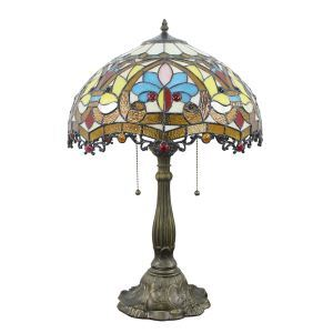 16inch European Retro Style Table Lamp Colorful  Pattern Glass Shade Bedroom Living Room Dining Room Lights