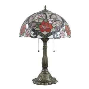 16inch European Retro Style Table Lamp Rose Pattern Glass Shade Bedroom Living Room Dining Room Lights
