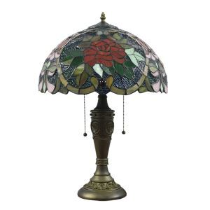 16inch European Retro Style Table Lamp Wild Rose Pattern Glass Shade Bedroom Living Room Dining Room Lights