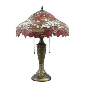 16inch European Retro Style Table Lamp Crimson Maple Leaf Pattern Glass Shade Bedroom Living Room Dining Room Lights