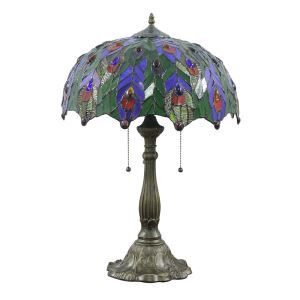 16inch European Retro Style Table Lamp Colorful Leaves Pattern Glass Shade Bedroom Living Room Dining Room Lights