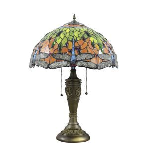 16inch European Retro Style Table Lamp Dragonfly Pattern Glass Shade Bedroom Living Room Dining Room Lights