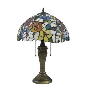 16inch European Retro Style Table Lamp Butterfly Flower Pattern Glass Shade Bedroom Living Room Dining Room Lights