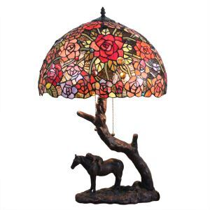 16inch European Retro Style Table Lamp Horse Base Colorful Flower Pattern Glass Shade Bedroom Living Room Dining Room Lights