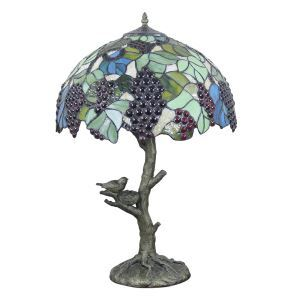 16inch European Retro Style Table Lamp Trunk and Birds Base Grape Pattern Glass Shade Bedroom Living Room Dining Room Lights