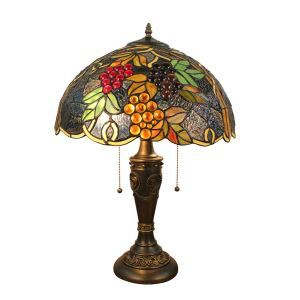 16inch European Retro Style Table Lamp Colorful Grape Pattern Glass Shade Bedroom Living Room Dining Room Lights