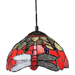 60W Tiffany Pendant Light with 1 Light Red Dragonfly Pattern